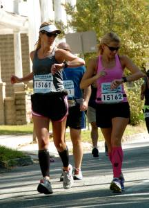 That's me--the one on the left, running the Savannah Rock 'n' Roll Marathon with one of my running partners.