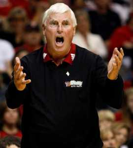 Texas Tech head coach Bob Knight reacts to the officials as Stanford beat Texas Tech 62-61 Saturday, December 22, 2007 during The O'Reilly Red Raider Christmas Classic at the American Airlines Center in Dallas, Texas. (Tom Pennington/Fort Worth Star-Telegram/MCT)